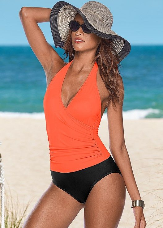 7cacd4105033a Venus Women s Wrap Front Halter One-Piece Swimsuit - Black orange