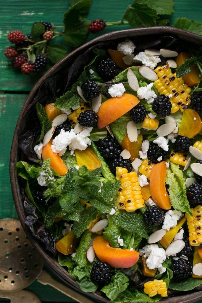 Blackberry Apricot Salad by dinneratthezoo: This blackberry apricot salad uses summer's finest produce and the creamy apricot poppyseed dressing is to die for. #Salad #Blackberry #Apricot #Healthy