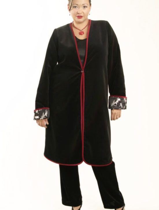 e23bf6fce9bf9 Plus Size Reversible Coat Velvet Silk Dragonflies Black Silver Red  SHOP  NOW  Unique jackets for women Sizes 14 - 36