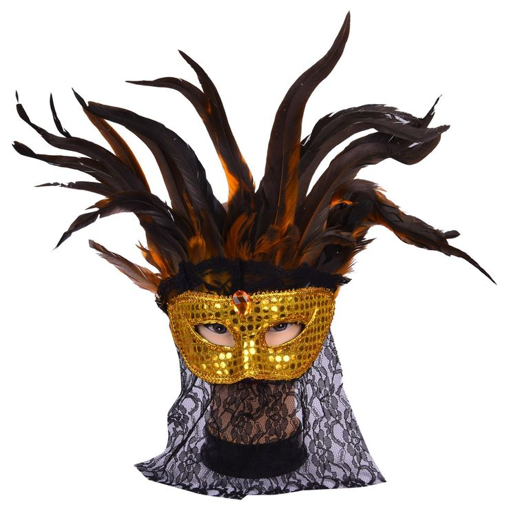 Product description Venetian eye mask with feathers and Veil which is great for a masquerade carnival party, Halloween, New Year's costume and other fancy dress parties.