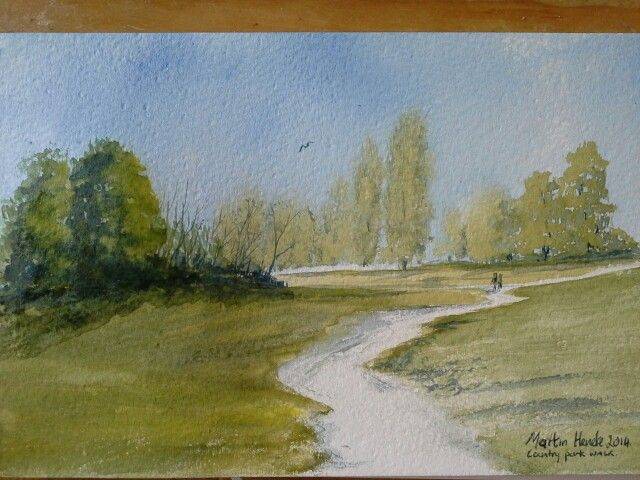 Country Park walk, watercolour , for sale 8x5 inch 25 pounds, , martinheneke@live.co.uk