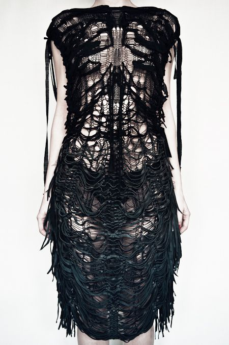 Skeletal Dress - intricate knitwear design with a disheveled aesthetic; distressed textiles for fashion // Valeriya Olkhova