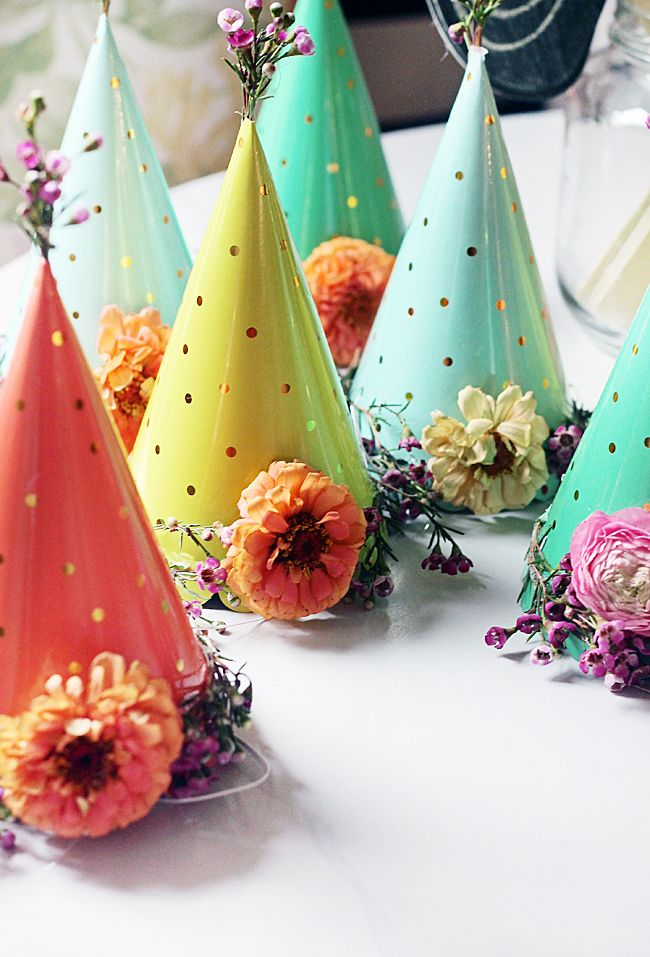 Festively floral party hats are a must for a Spring garden party