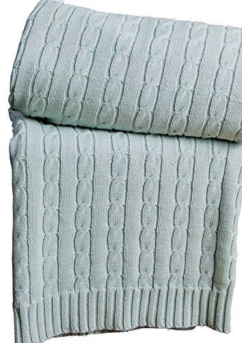 Homescapes - Cable Knit - Throw - Duck Egg Blue - 100% Cotton - 130 x 170 cm - Washable Sofa Throw or Bed Blanket