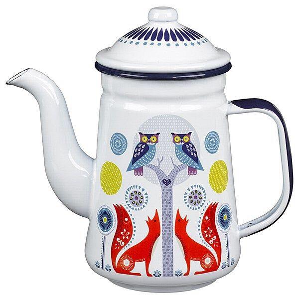 Folklore enamel teapot