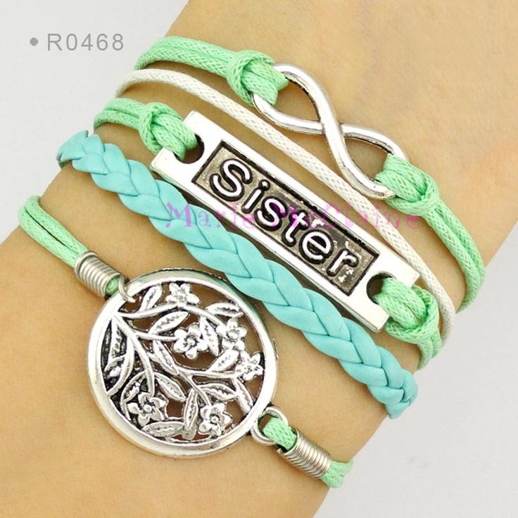 Sister to Infinity and Beyond Tree of Life Charm Bracelet Mint Green Waxed Cotton Cord Suede Leather Bracelet - Customizable