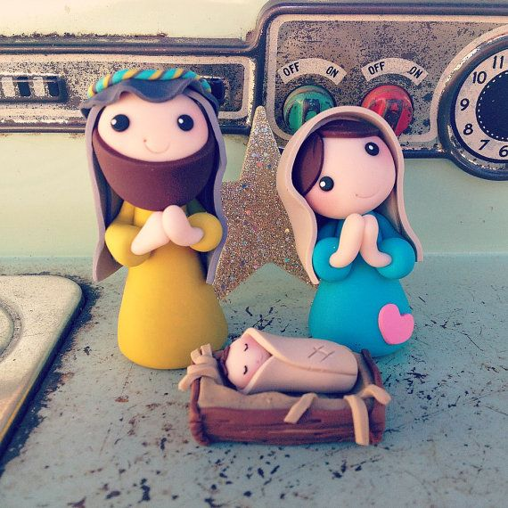 cute clay nativity  set 1  creme de la gems  holy by CremeDeLaGems, $50.00
