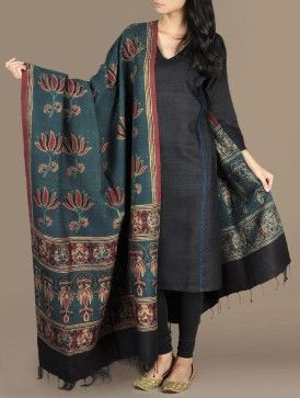 Lotus Symmetry Dupion Silk Dupatta