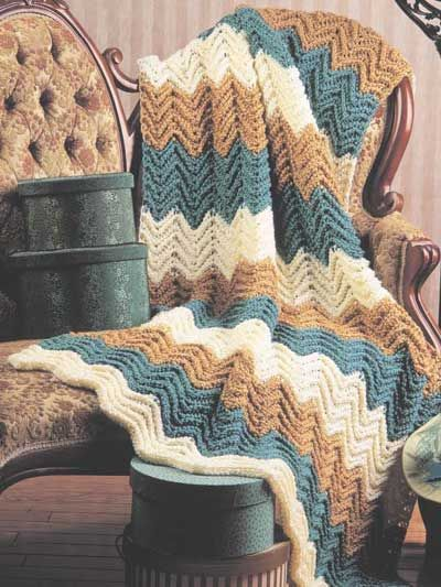 Striped Ripple Afghan crochet (free pattern)