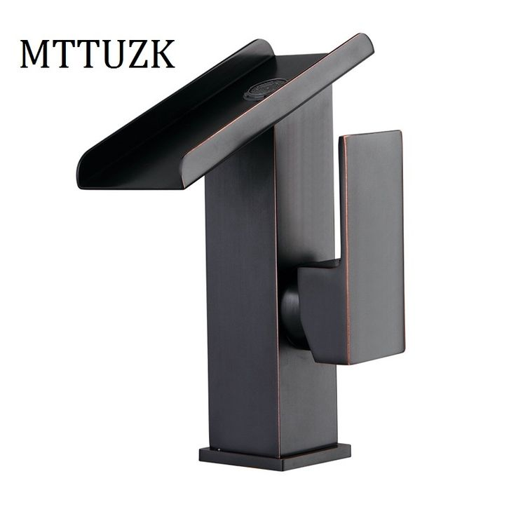 51.83$  Buy here - http://alin0u.shopchina.info/1/go.php?t=32799515548 - MTTUZK Free Shipping Square Oil Bubbed Bathroom Basin Faucet Brass Mixer Tap Vanity Faucet Sink Mixer Tap Black Waterfall Faucet  #buyininternet