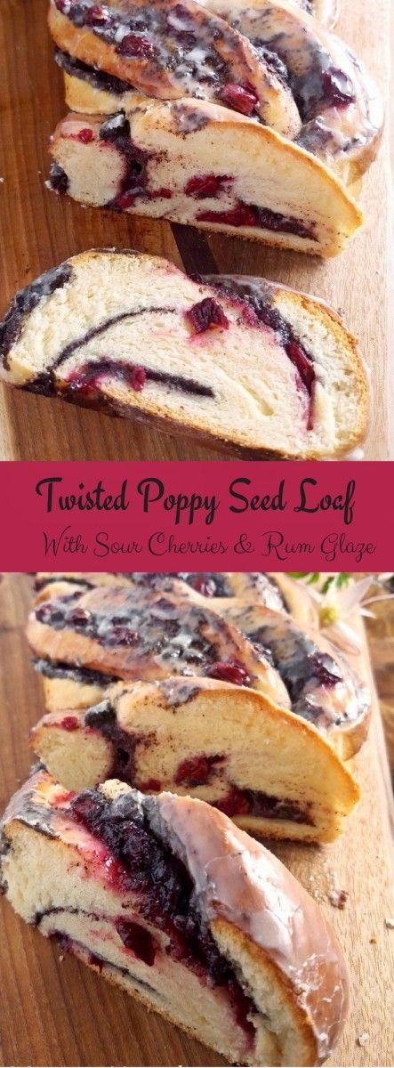 Twisted Poppy Seed Loaf with Sour Cherry Jam & Rum Glaze.This soft and buttery Twisted Poppy Seed Loaf with Sour Cherry Jam and Rum Glaze is the perfect recipe for an indulgent Christmas or Easter Brunch! Serve it fresh out of the oven !
