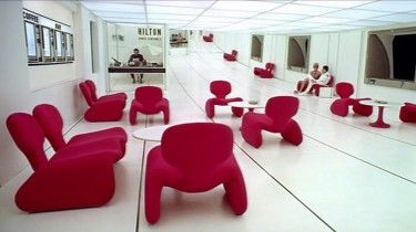 Those red chairs! Whose jaw could fail to drop the first time you set eyes on those playful yet functional Djinn chairs as Dr Floyd enters the Hilton lobby of Space Station Five on his way to the moon in…