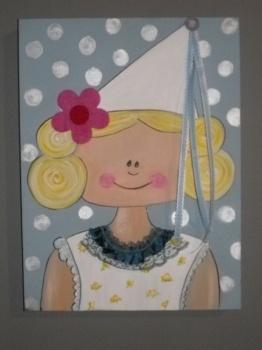Princes lichtblauw €68,50 Onze handgemaakte schilderijtjes met 3D-versieringen kunnen volledig naar eigen wensen geschilderd worden. #schilderijtje #kinderkamer #schilderij #Decodomus