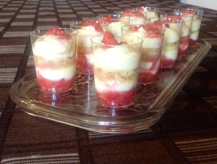 Strawberry tiramisu shots