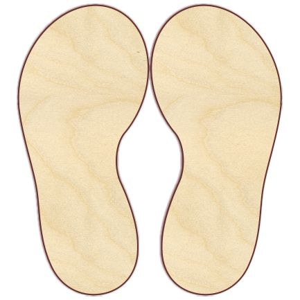 """Flip flops Sizes shown are the dimensions for 1 piece, but these are sold by the pair. If you order a quantity of 1, you will get a pair of flip-flops, 2 pieces. Unfinished wood cut from 1/4"""" Baltic b"""