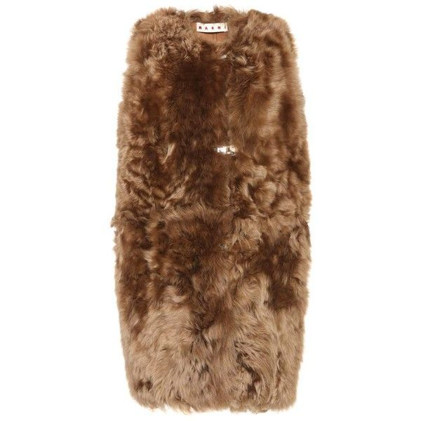 Marni Fur Gilet (180,890 INR) ❤ liked on Polyvore featuring outerwear, vests, brown, brown waistcoat, brown vest, marni, fur gilet and fur vest
