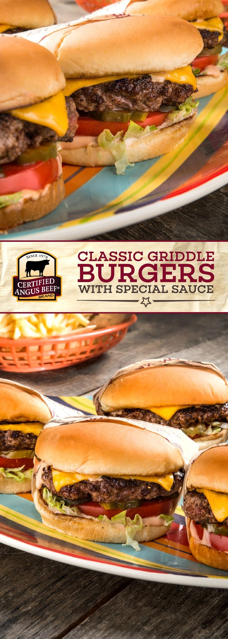 Certified Angus Beef®️️️️ brand Classic Griddle Burgers with Special Sauce bring classic burgers to the next level. This delicious burger recipe uses the best ground chuck and a special sauce that packs a flavorful PUNCH! Cook in beef or bacon fat to bring out the deep flavor in this dish. #bestangusbeef #certifiedangusbeef #beefrecipe #burgertime #gamedayrecipes