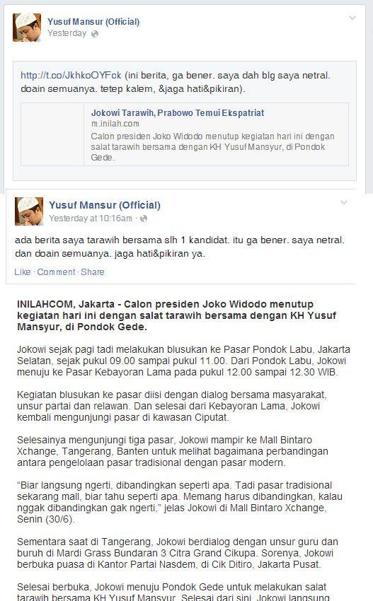 #Bohong Jokowi Taraweh bersama ustadz yusuf mansur  http://m.inilah.com/read/detail/2115096/jokowi-tarawih-dengan-kh-yusuf-mansur  https://www.facebook.com/UstadzYusufMansur/posts/671753466241573  https://www.facebook.com/UstadzYusufMansur/posts/671751222908464