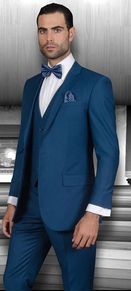 Sku#Ac-945 Mens Slim Fit Suits Three Piece Cobalt ~ Indigo~ Teal ~ Slate Blue Wool Vested Suit