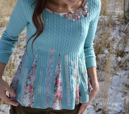 sweater refashion. I think I am going to do this with some t-shirts as well, since I live in NC and it doesn't really get that cold very often.