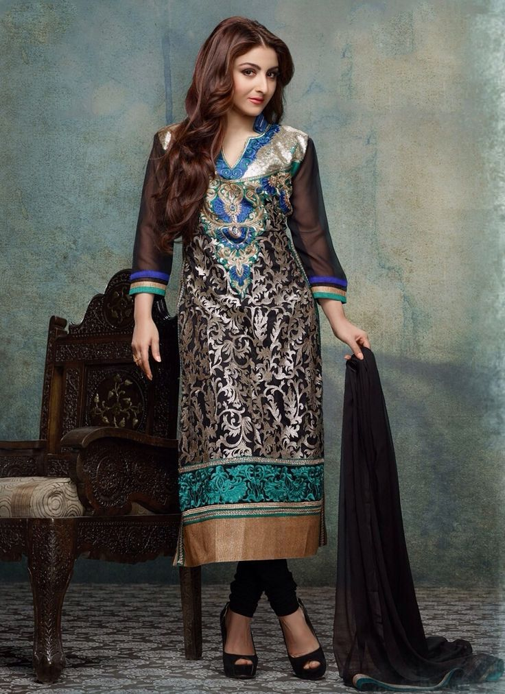 Product Description  Item Code: : 6933  Celebrity : Soha Ali Khan   Occasion : Ceremonial & Reception   Color : Black   Fabric : Georgette Net   Work : Embroidered Lace  Catalog No. : 3100