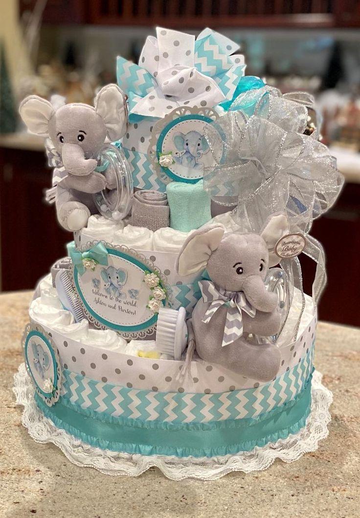 4 tier diaper cake teal elephant diaper cake baby boy