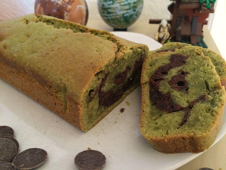 Vegan - cake marbré marcha/chocolat - KnZ vegan kitchen