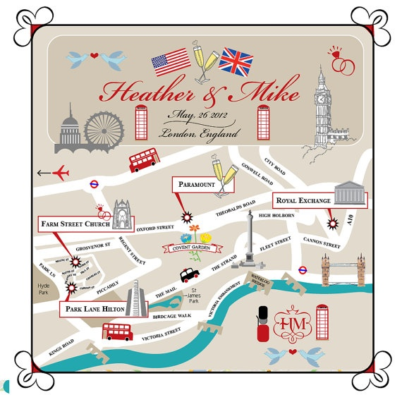 London wedding map