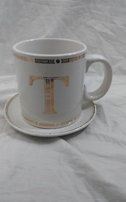 Gold Letter T Monogram Oversized Coffee Mug Tea Cup And Saucer 20oz