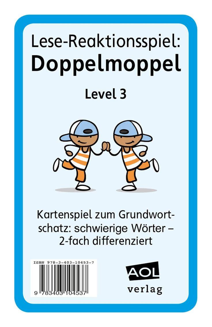 Lese-Reaktionsspiel: Doppelmoppel Level 3 - Blitzlesen: mit diesem Kartenspiel trainieren Ihre Schüler die Worterkennung von schwierigen Nomen, Verben und Adjektiven. Sie trainieren, ihre Lesegeschwindigkeit zu steigern. Es eignet sich für die Leseförderung, aber auch für den DaZ-Unterricht.