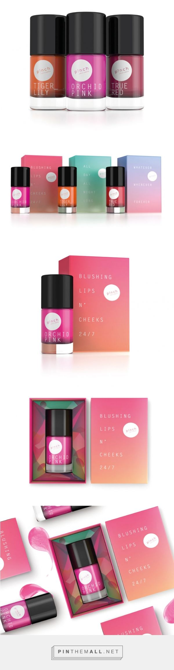 PINCH Lips -n- Cheeks curated by Packaging Diva PD. Love the gradations and colors on this packaging.