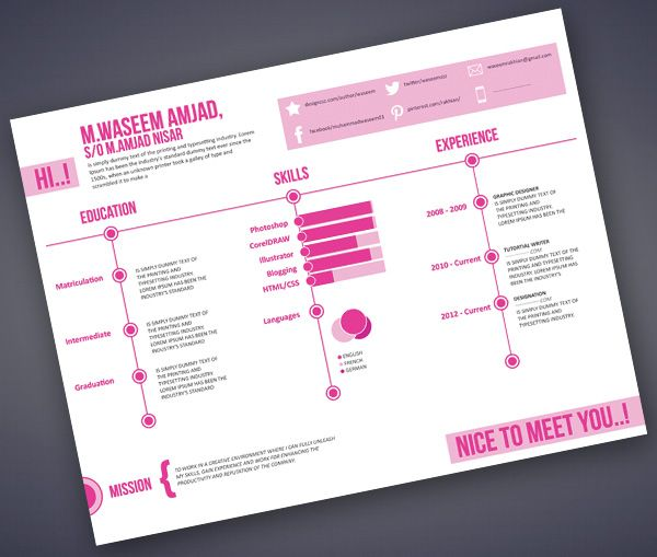 165 best cv images on Pinterest Projects, Job resume and - resumes with color