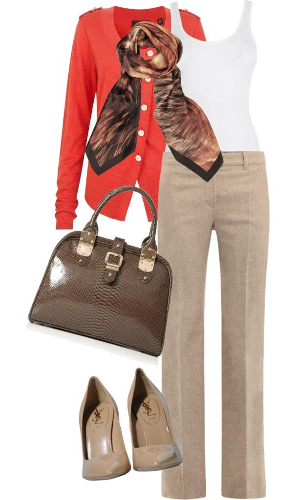 Look Office nude e laranja