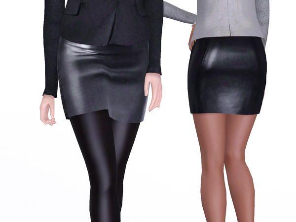 Designer Leather Skirt 40
