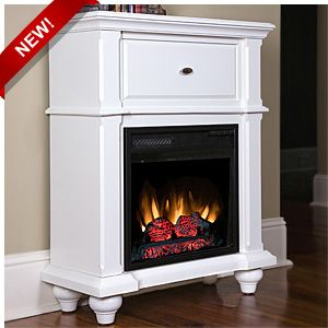 An electric fireplace that doubles as a convenient end table.   http://www.electricfireplacesdirect.com/products-accessories/free-standing-electric-stoves/Auckland-Petit-Foyer-in-White-Finish-18SM465-T401