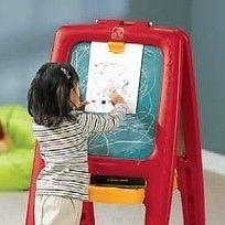 http://www.shopplaypens.co.za/product/easel-for-two-yellow-red/Unique easel design doubles the fun!• Features 2-sided easel – one with a chalk board and one with a magnetic dry erase board and 77 foam magnetic letters, numbers