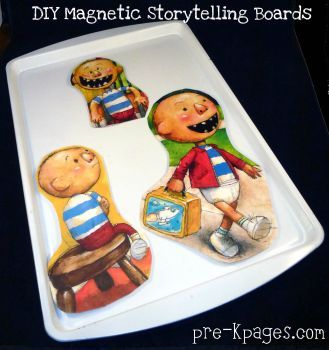 Great use for worn out books.  Make DIY Magnetic Retelling Boards