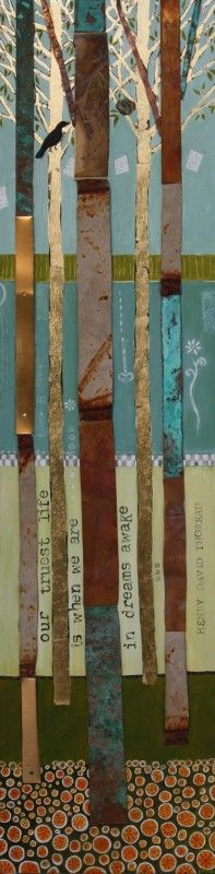 "Diana Wood ""SEASONS CHANGE- SPRING"" - 48"" X 12""- Found metals, gold leaf, oil on wood-"