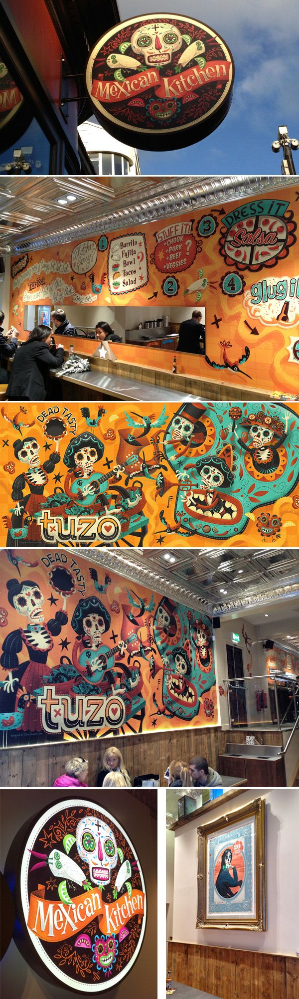 We can design, produce, and install these kind of eye popping graphics for your space.  Tuzo - Mexican Kitchen Illustrations