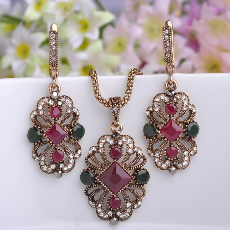 Brand Turkish Jewelry Sets Women Girls Party Banquet Bijoux Retro Brincos Antique Gold Metal Chain Pendant Necklace Earrings Set