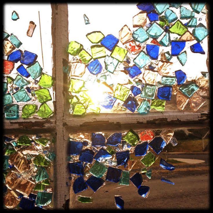 """""""broken aquarium"""" broken glass tiles on antique window, from the unlikely orange"""