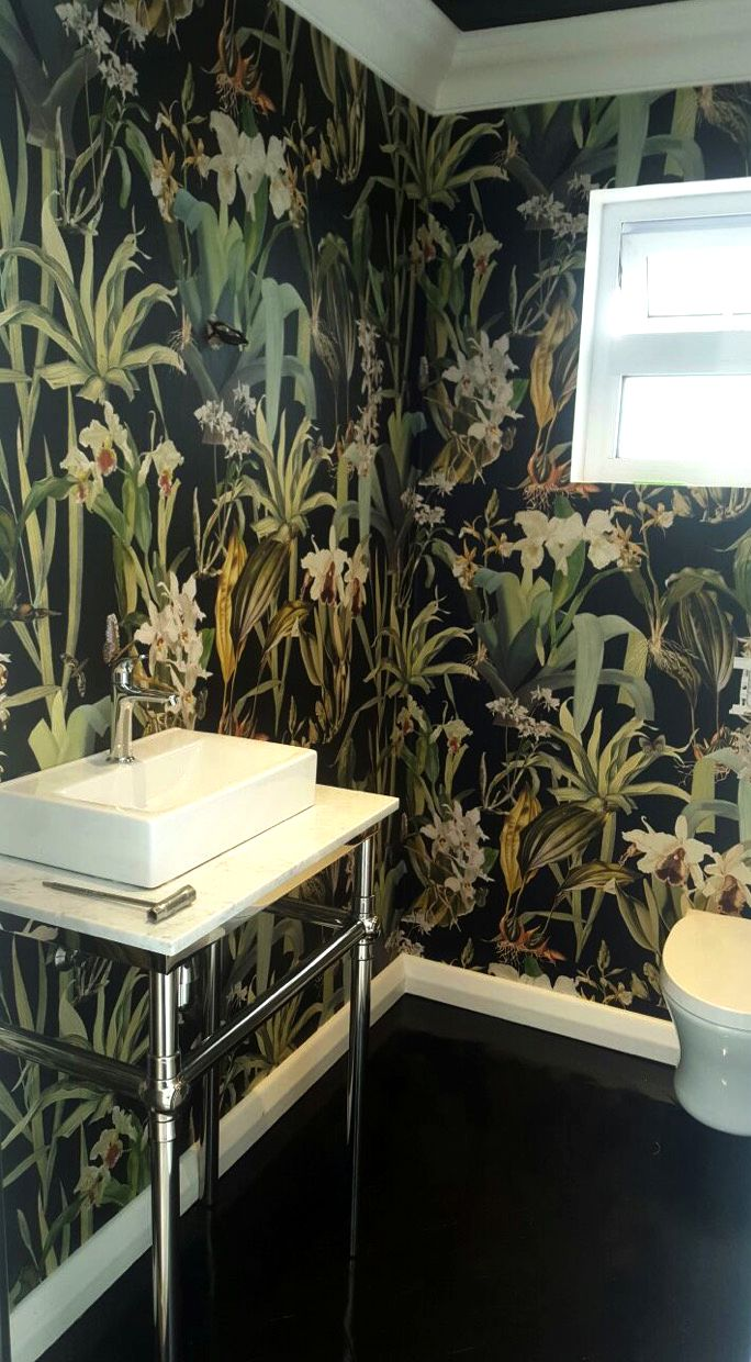 Marcia Leader's toilet stall has a new look and feel as a result of her newly installed Soil Designs wallpaper.
