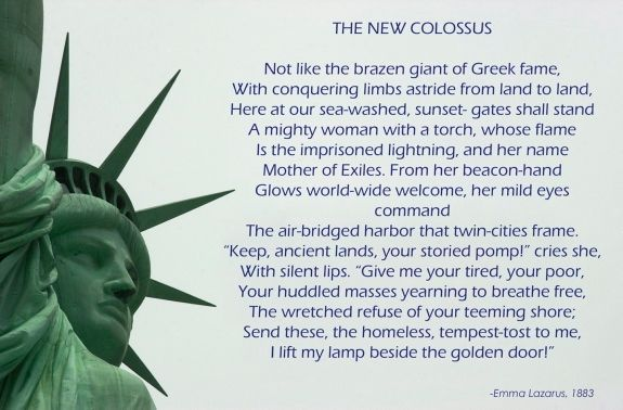 ellis island peom The poem is a petrarchan sonnet the title of the poem and the first two lines refer to the colossus of rhodes, which was one of the seven wonders of the.