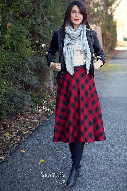 I love a plaid circle skirt. So cozy and perfect with tights and boots. Kendi rocks it with a leather-like jacket.