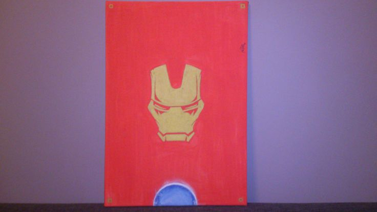 -Iron Man Illustration -Water Markers and Spray on Canvas -Made by Request  SOLD