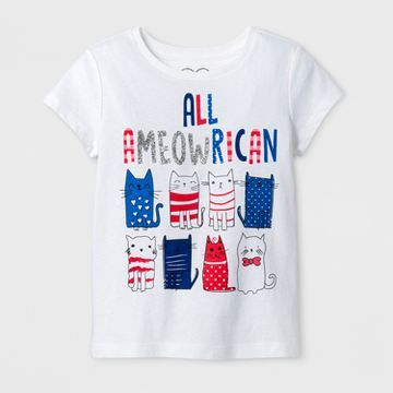 Toddler Girls' All Ameowrican T-Shirt - White