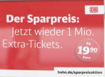 Bahn: Neue Sparpreis-Tickets ab 19,90 Euro deutschlandweit https://www.discountfan.de/artikel/reisen_und_bildung/bahn-neue-sparpreis-tickets-ab-1990-euro-deutschlandweit.php Noch bis zum 19. November gibt es bei der Bahn die beliebten Sparpreis-Tickets zu Preisen ab 19,90 Euro. Nutzbar sind sie für Reisen bis zum 17. Mai 2018. Bahn: Neue Sparpreis-Tickets ab 19,90 Euro deutschlandweit (Bild: Bahn.de) Die Sparpreis-Tickets ab 19,90 Euro sind noch bis Sonntag nächster... #