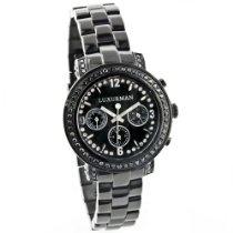 Luxurman Watches: Ladies Black Diamond Watch 2.15ct