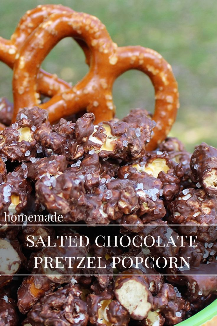 Homemade Salted Chocolate Pretzel Popcorn.  When you  mix sweet and salty, delicious things happen! This recipe is so easy to make and totally mouthwatering!  This popcorn recipe would be perfect to put out on the dessert table this Holiday season for your guests!  via @kernelseasons