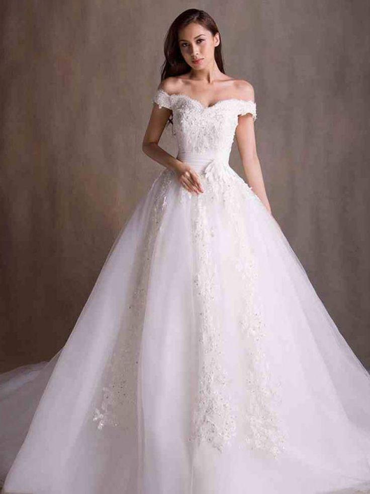 Dathybridal #ウェディングドレス ボールガウン #オーガンジー オフショルダー アップリケ レースアップ アイボリー コート 結婚式 二次会ドレス Hlb0021